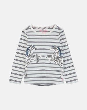 Joules, Girl - Tees,  Joules Ava Navy Stripe Horse Applique T-Shirt