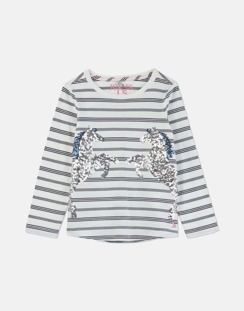 Joules Ava Navy Stripe Horse Applique T-Shirt