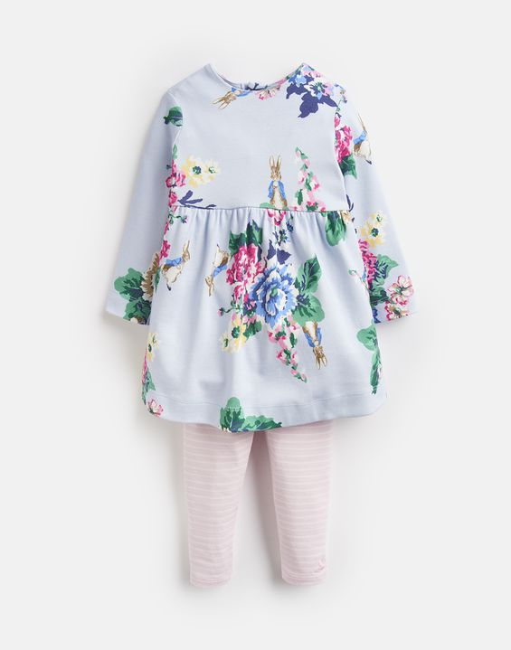 Joules, Baby Girl Apparel - Outfit Sets,  Joules Christina Light Blue Floral Official Peter Rabbit Collection Dress and Legging Set