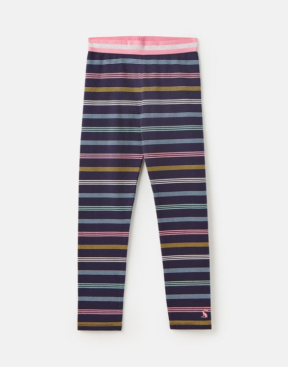 Joules Glitzy Luxe Navy Multi Stripe Shine Waistband Leggings