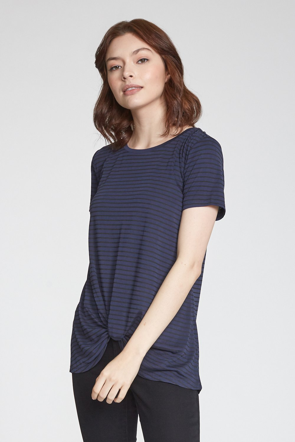 Julia Stripped Navy Knot Tee