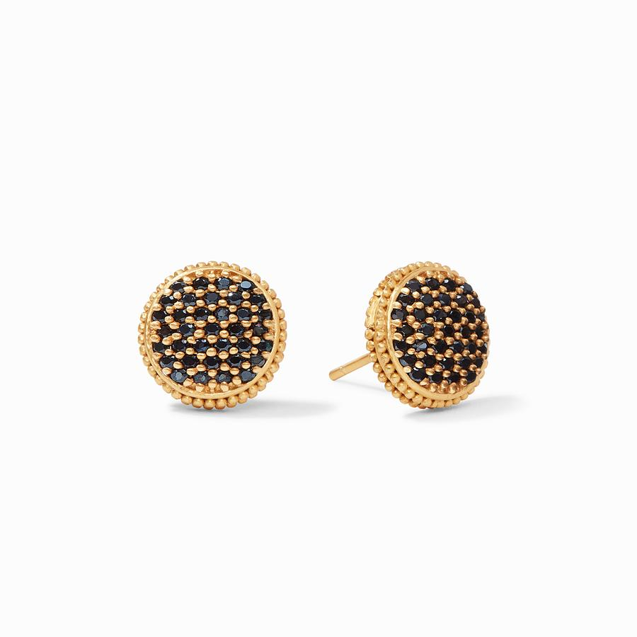 Julie Vos, Accessories - Jewelry,  Julie Vos - Fleur-de-Lis Pave Stud Obsidian Black