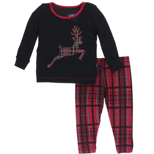 KicKee Pants, Footie, Eden Lifestyle, KicKee Pants - Holiday Long Sleeve Pajama Set - Christmas Plaid