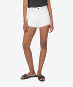 KUT from the Kloth Jane High Rise Short with Fray (Optic White)