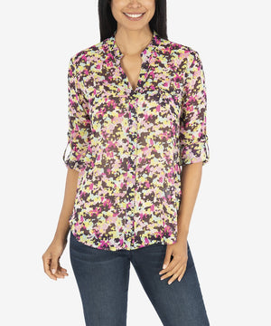 KUT from the Kloth, Women - Shirts & Tops,  KUT from the Kloth Jasmine Printed Top (Ivory/Berry)