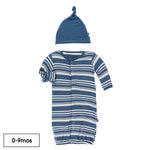 KicKee Pants - Print Gown Converter & Knot Hat Set - Fishing Stripe - Eden Lifestyle