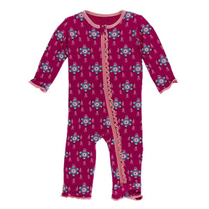 KicKee Pants, Baby Girl Apparel - Pajamas,  KicKee Pants - Muffin Ruffle Coverall with Zipper - Rhododendron Pinata