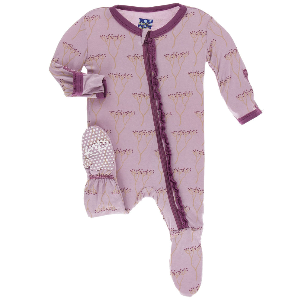 KicKee Pants, Baby Girl Apparel - Pajamas,  KicKee Pants - Muffin Ruffle Footie with Zipper - Cooksonia