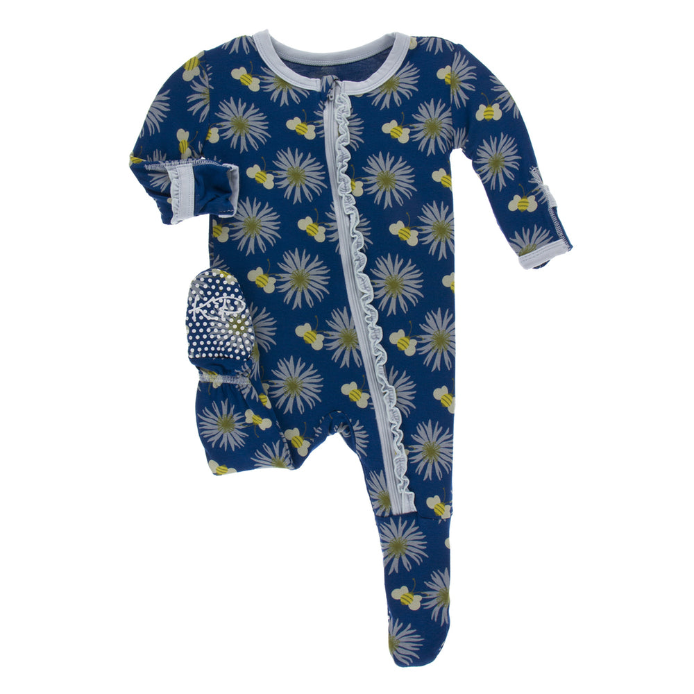 KicKee Pants, Baby Girl Apparel - Pajamas,  KicKee Pants - Muffin Ruffle Footie with Zipper - Navy Cornflower and Bee
