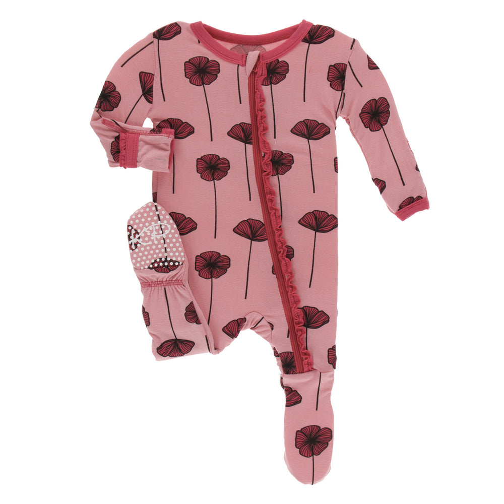 KicKee Pants, Baby Girl Apparel - Pajamas,  KicKee Pants - Muffin Ruffle Footie with Zipper - Strawberry Poppies