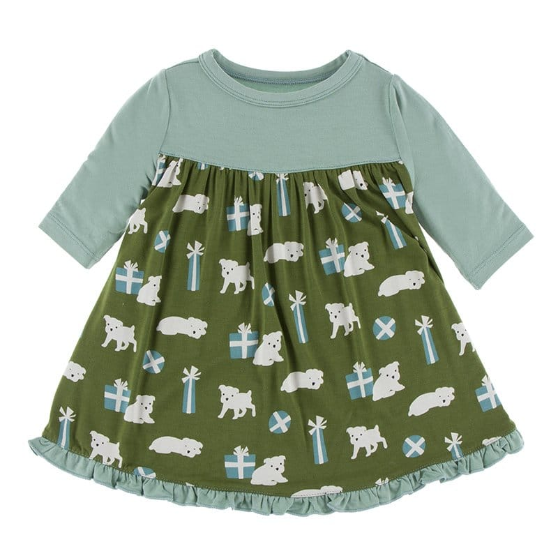 KicKee Pants - Print Classic Long Sleeve Swing Dress - Moss Puppies and Presents