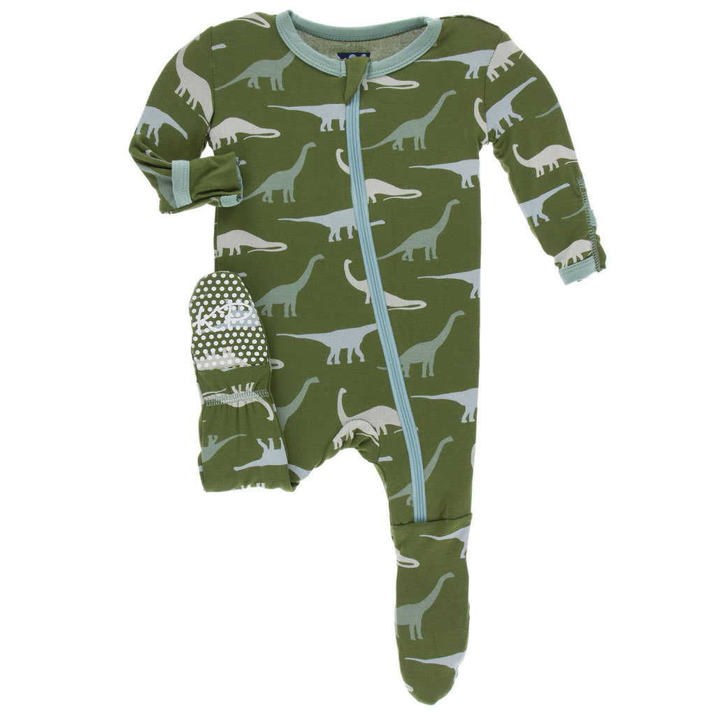 KicKee Pants - Print Footie with Zipper - Moss Sauropods