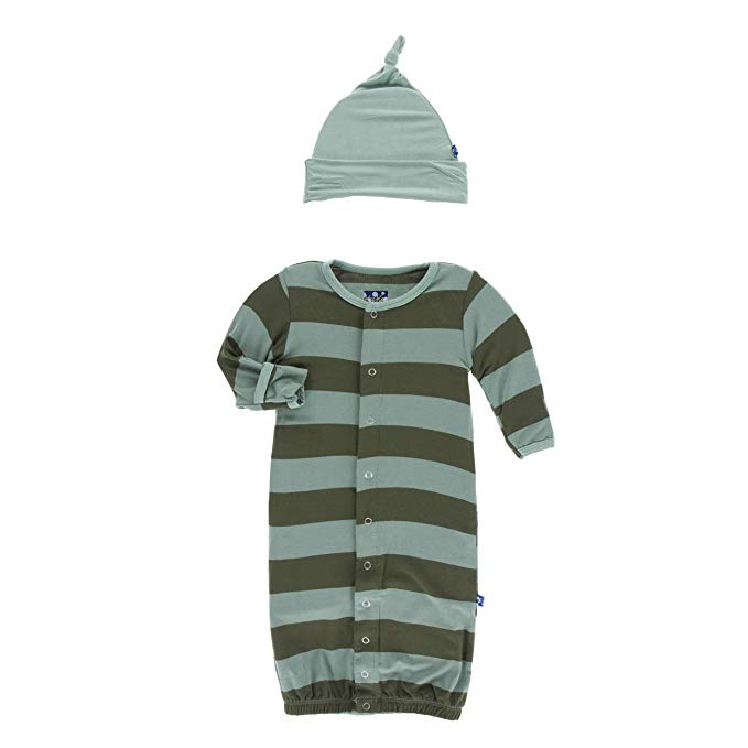 KicKee Pants, Baby Boy Apparel - Pajamas,  KicKee Pants - Print Gown Converter & Knot Hat Set - Paleontology Fauna Stripe