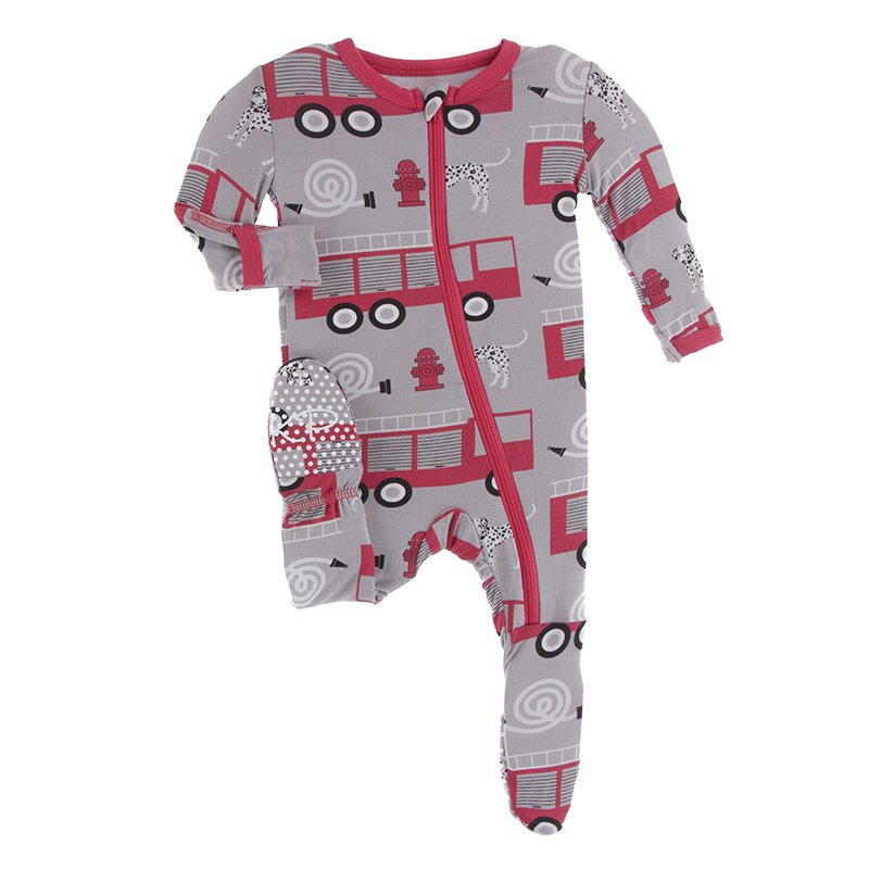 KicKee Pants, Baby Boy Apparel - Pajamas,  Kickee Pants - Print Footie with Zipper - Feather Firefighter