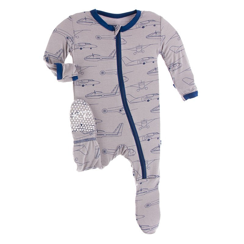 KicKee Pants, Baby Boy Apparel - Pajamas,  Kickee Pants - Print Footie with Zipper - Feather Heroes in the Air