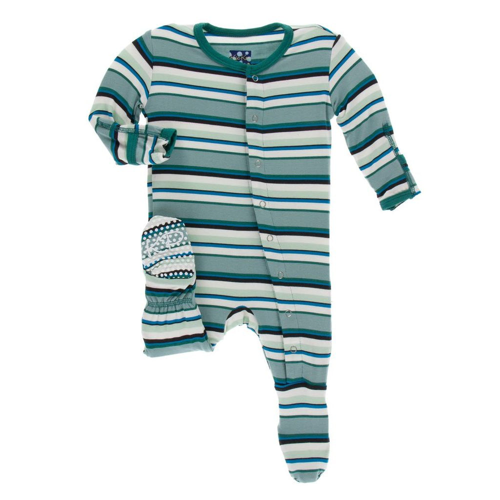 KicKee Pants, Baby Boy Apparel - Pajamas,  Kickee Pants - Print Footie with Zipper - Multi Agriculture Stripe