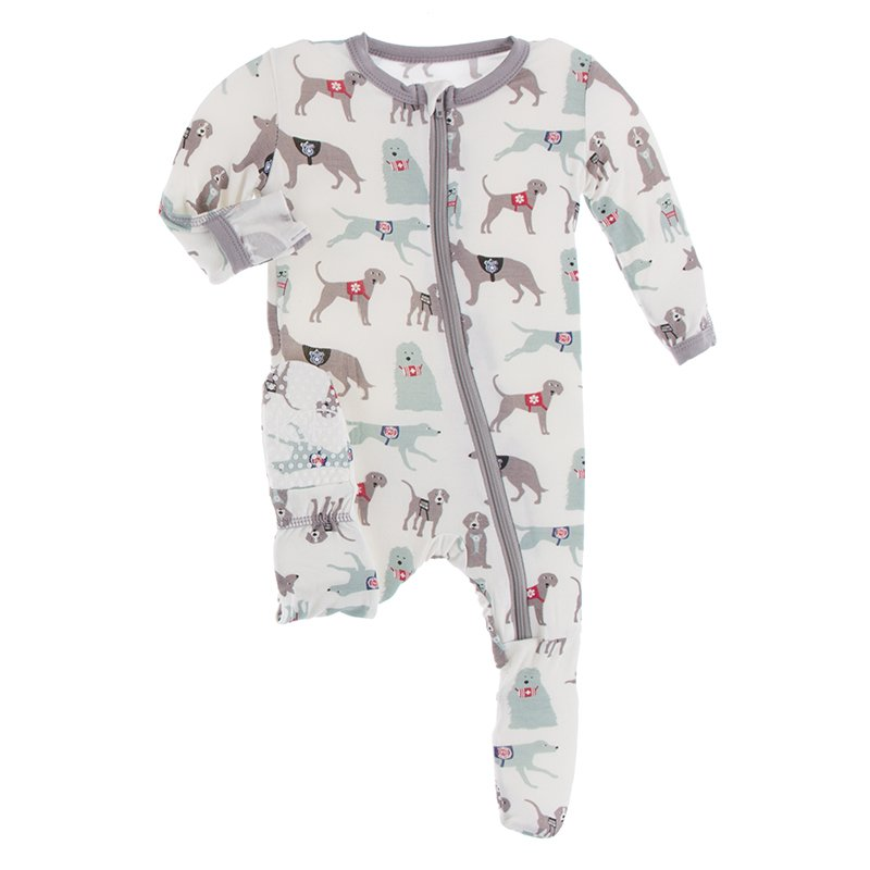 Kickee Pants, Baby Boy Apparel - Pajamas,  Kickee Pants - Print Footie with Zipper - Natural Canine First Responders