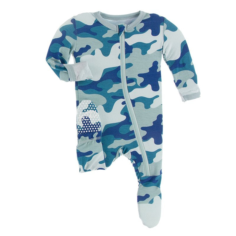 KicKee Pants, Baby Boy Apparel - Pajamas,  Kickee Pants - Print Footie with Zipper - Oasis Military