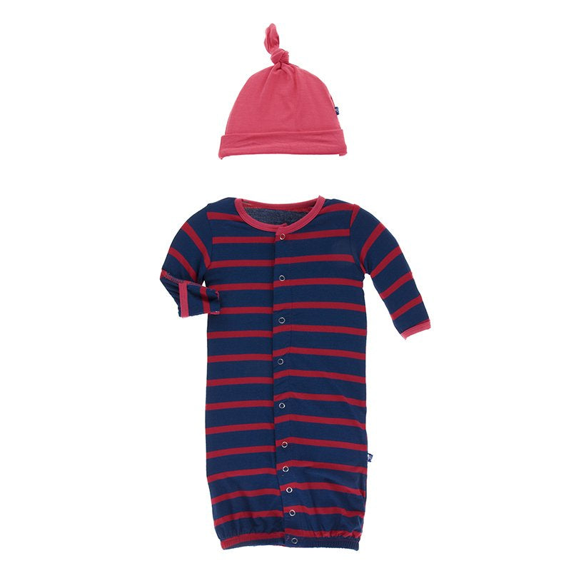 Kickee Pants, Baby Boy Apparel - Pajamas,  Kickee Pants -Print Layette Gown Converter & Knot Hat Set - Everyday Heroes Navy Stripe
