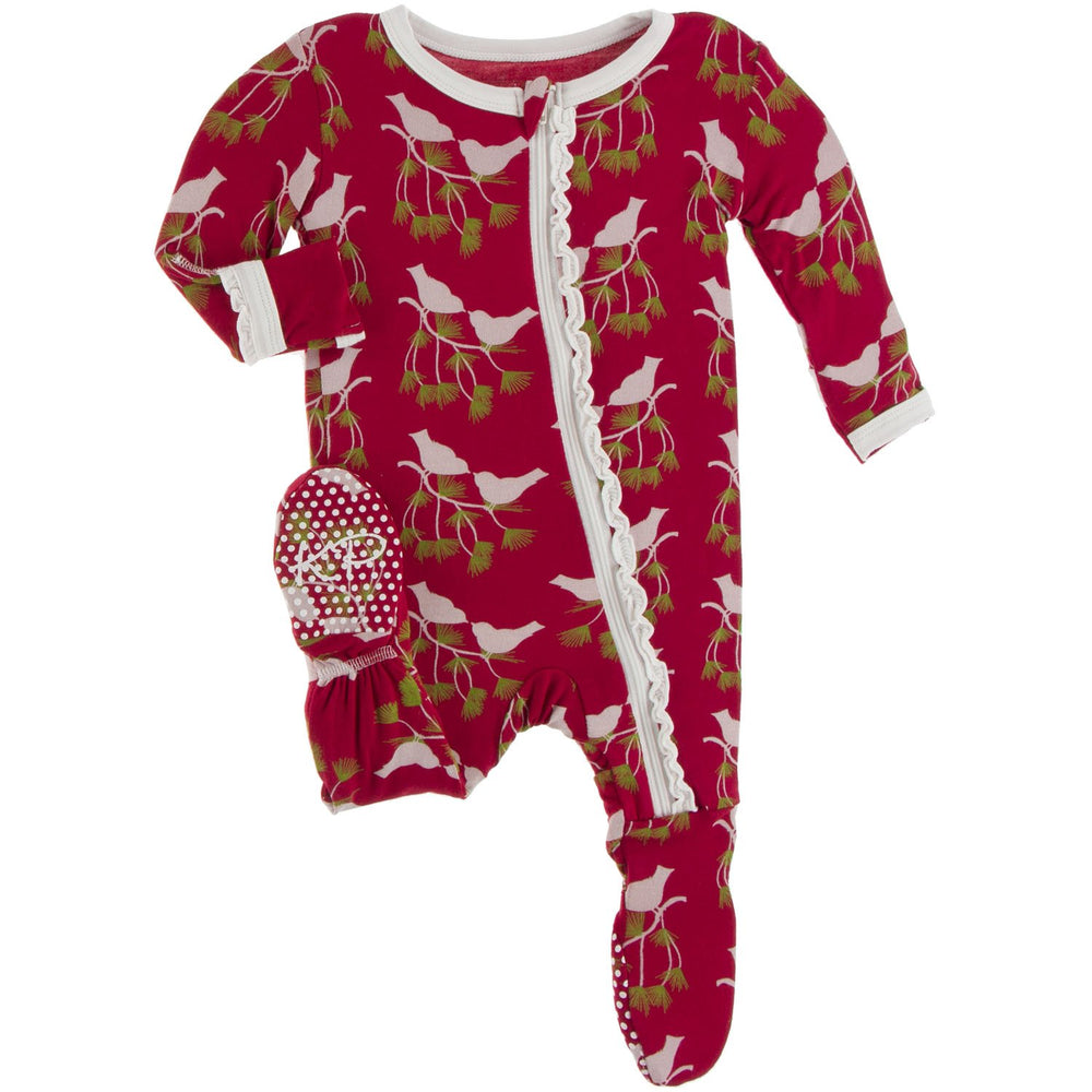 Kickee Pants - Print Muffin Ruffle Footie with Zipper - Crimson Kissing Birds