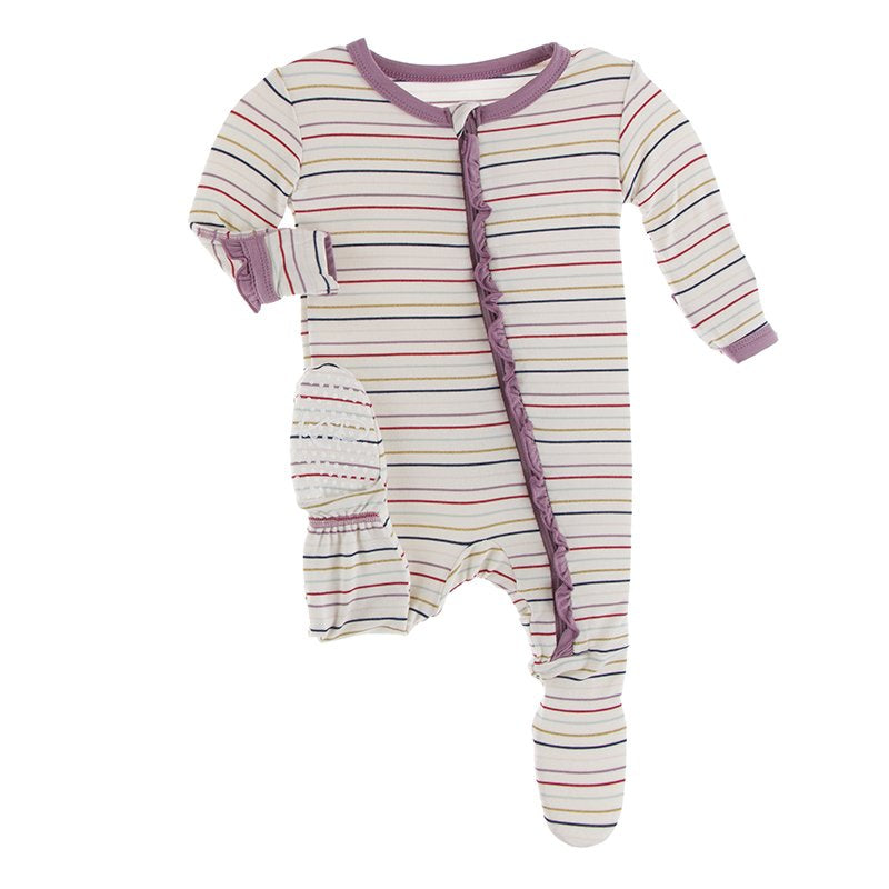 Kickee Pants - Print Muffin Ruffle Footie with Zipper - Everyday Heroes Multi Stripe