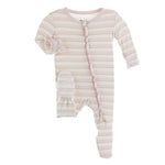 KicKee Pants, Baby Girl Apparel - Pajamas,  Kickee Pants - Print Muffin Ruffle Footie with Zipper - Everyday Heroes Sweet Stripe