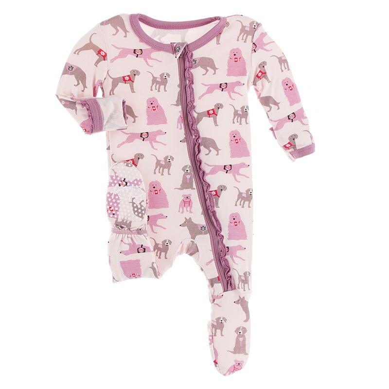 Kickee Pants - Print Muffin Ruffle Footie with Zipper - Macaroon Canine First Responders
