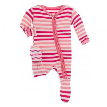 Kickee Pants - Print Muffin Ruffle Footie with Zipper in Forest Fruit Stripe - Eden Lifestyle
