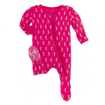 Kickee Pants - Print Muffin Ruffle Footie with Zipper in Prickly Pear Mini Seahorses - Eden Lifestyle