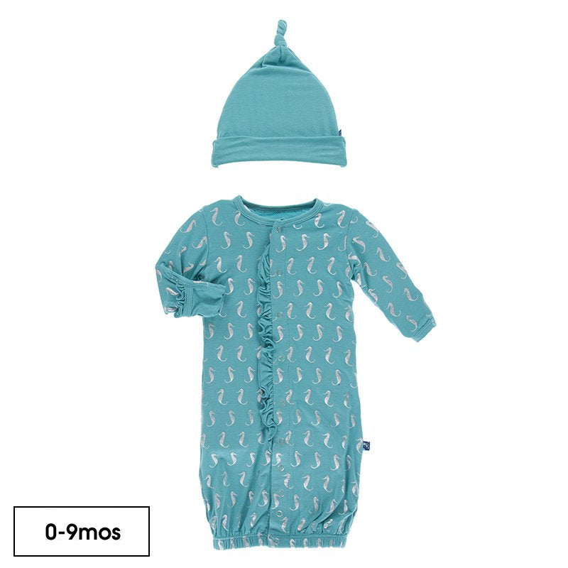 Kickee Pants - Print Ruffle Layette Gown & Single Knot Hat Set in Neptune Mini Seahorses - Eden Lifestyle