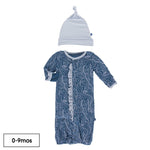 Kickee Pants - Print Ruffle Layette Gown & Single Knot Hat Set in Twilight Whirling River - Eden Lifestyle