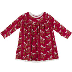 KicKee Pants, Girl - Pajamas,  Kickee Pants - Print Classic Long Sleeve Swing Dress - Crimson Kissing Birds