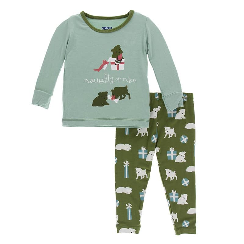 KicKee Pants, Boy - Pajamas,  Kickee Pants - Holiday Print Long Sleeve Pajama Set - Shore Naughty or Nice