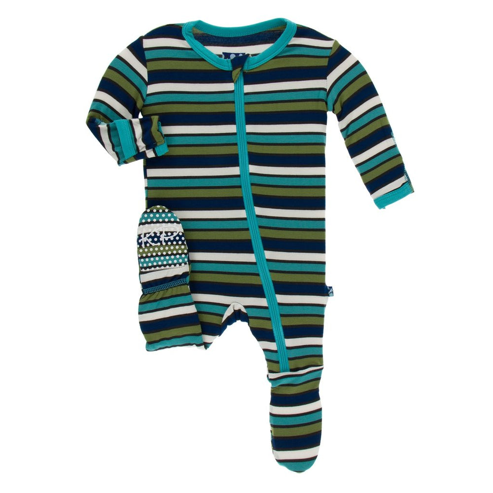 KicKee Pants, Baby Boy Apparel - Pajamas,  Kickee Pants - Print Footie with Zipper - Botany Grasshopper Stripe
