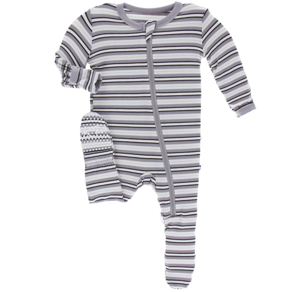 Kickee Pants - Print Footie with Zipper - India Pure Stripe-Baby Boy Apparel - Pajamas-KicKee Pants-Newborn-Eden Lifestyle