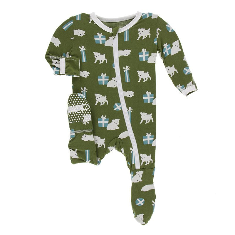 Kickee Pants - Print Footie with Zipper - Moss Puppies and Presents