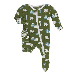 KicKee Pants, Baby Boy Apparel - Pajamas,  Kickee Pants - Print Footie with Zipper - Moss Puppies and Presents
