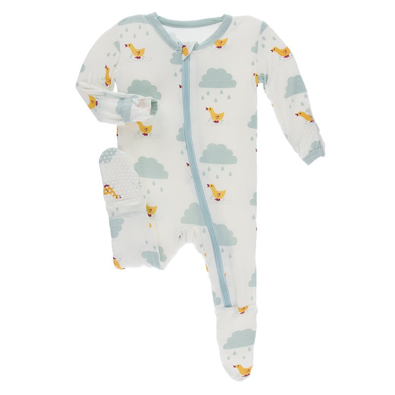 Kickee Pants - Print Footie with Zipper - Natural Puddle Duck