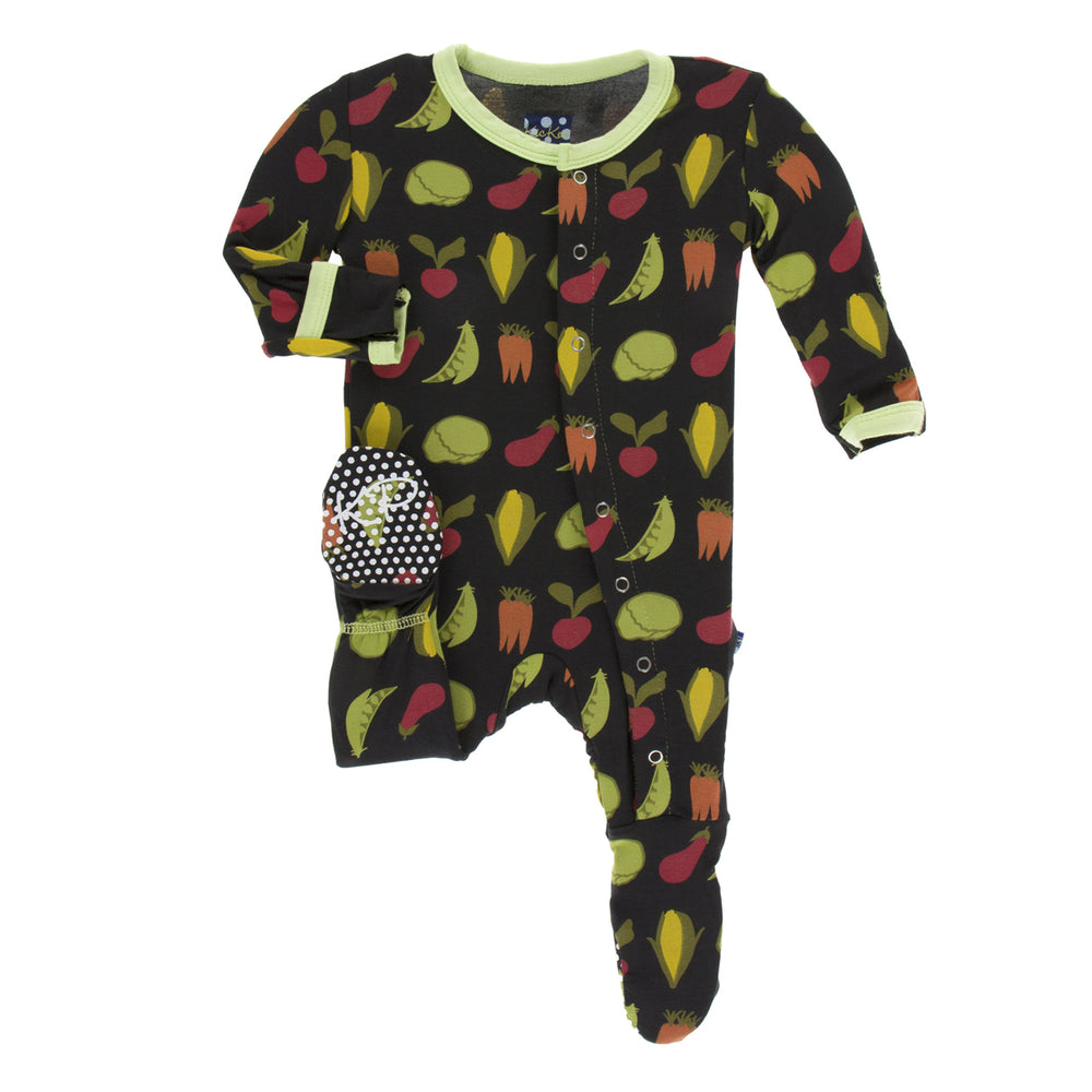 Kickee Pants - Print Footie with Zipper - Zebra Garden Veggies