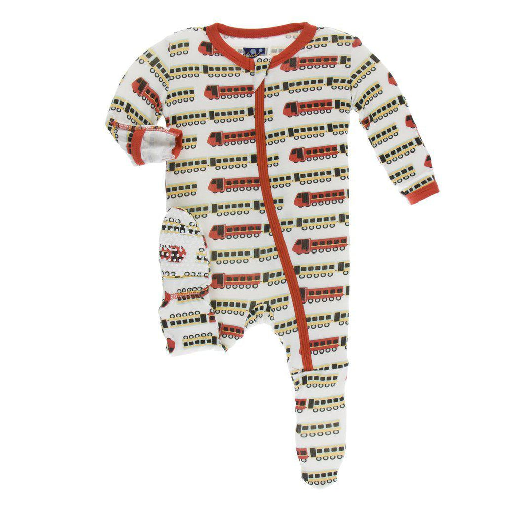 KicKee Pants, Baby Boy Apparel - Pajamas,  Kickee Pants - Print Footie with Zipper - Natural Indian Train