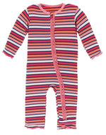 KicKee Pants, Baby Girl Apparel - One-Pieces,  Kickee Pants - Print Muffin Ruffle Coverall with Zipper - Botany Red Ginger Stripe