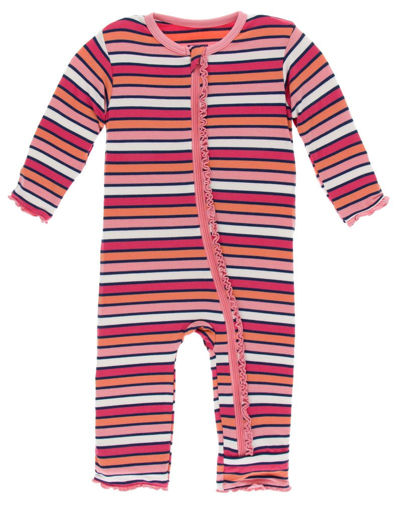 Kickee Pants - Print Muffin Ruffle Coverall with Zipper - Botany Red Ginger Stripe