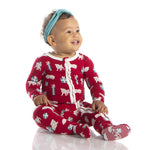 KicKee Pants, Baby Girl Apparel - Pajamas,  Kickee Pants - Print Muffin Ruffle Footie with Zipper - Crimson Puppies and Presents