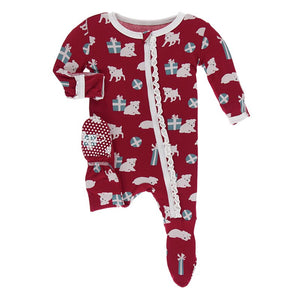 Kickee Pants - Print Muffin Ruffle Footie with Zipper - Crimson Puppies and Presents