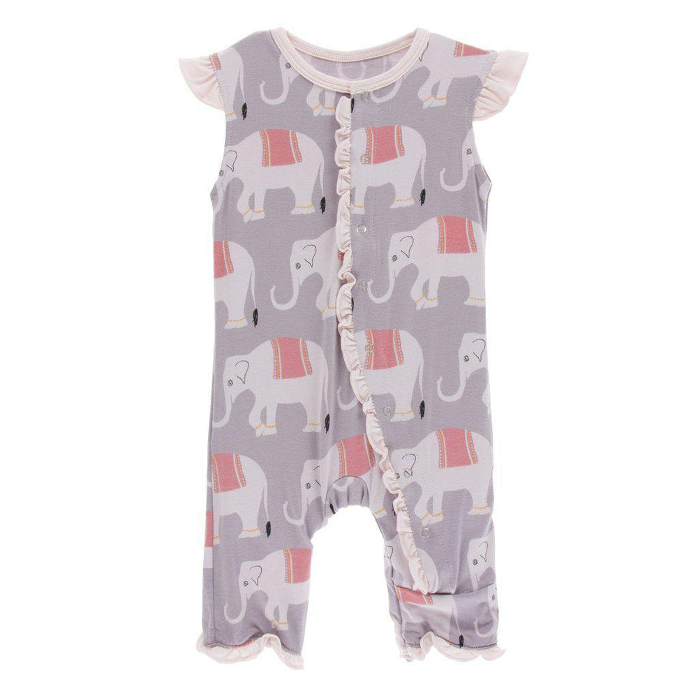 KicKee Pants, Baby Girl Apparel - Rompers,  Kickee Pants - Print Ruffle Tank Romper - Feather India Elephant