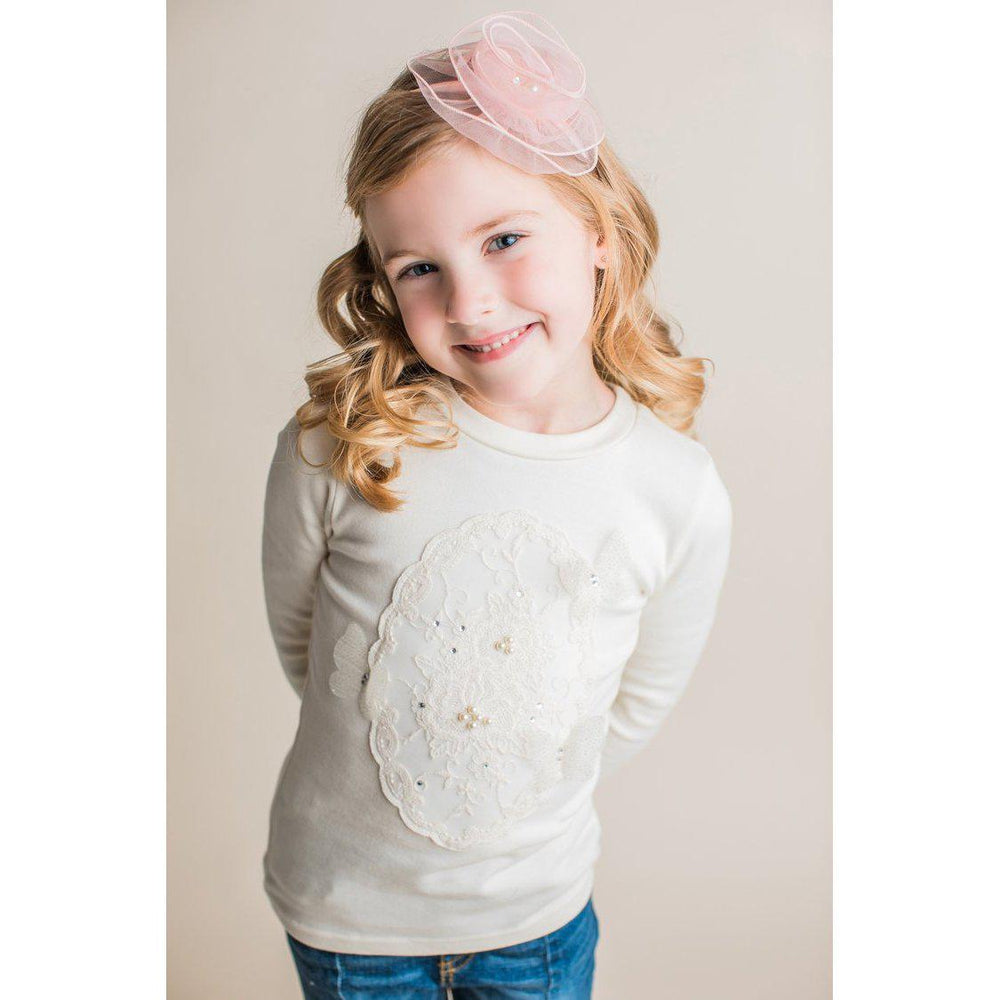 Mae Li Rose Lace Long Sleeve Top-Girl - Shirts & Tops-Mae Li Rose-2T-Ivory-Eden Lifestyle