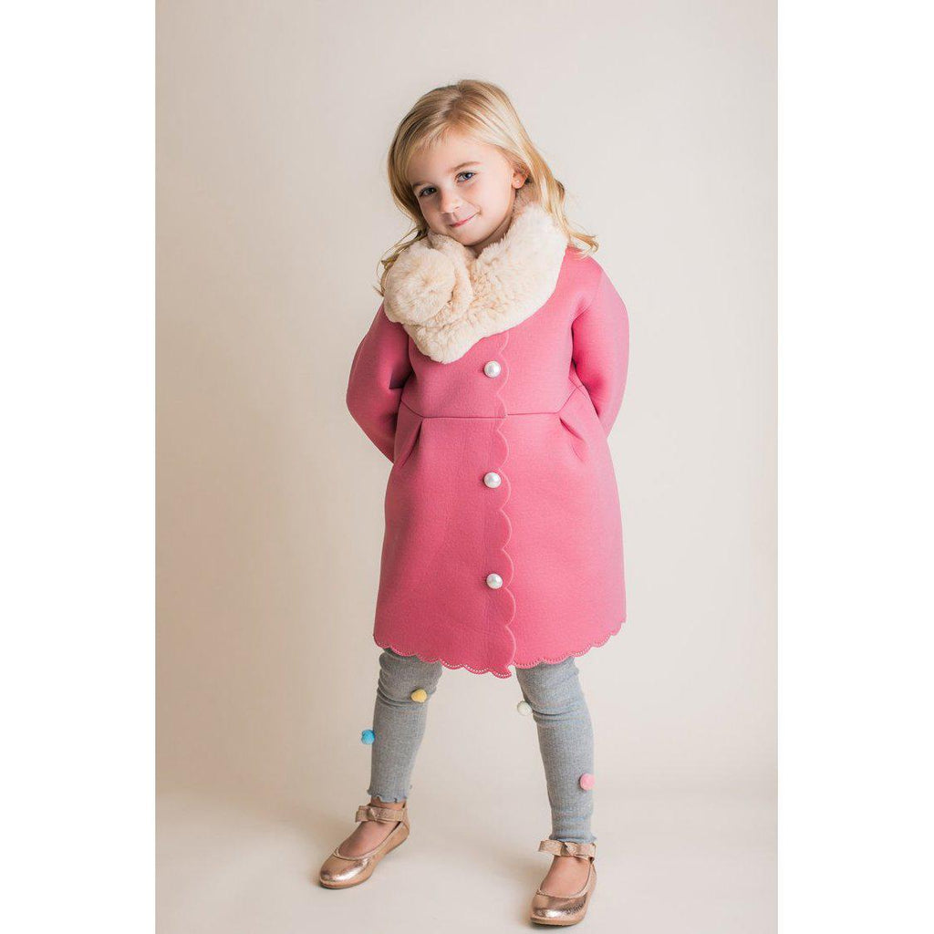 Scuba Petit Coat with Pearls-Girl - Outerwear-Mae Li Rose-2T-Eden Lifestyle