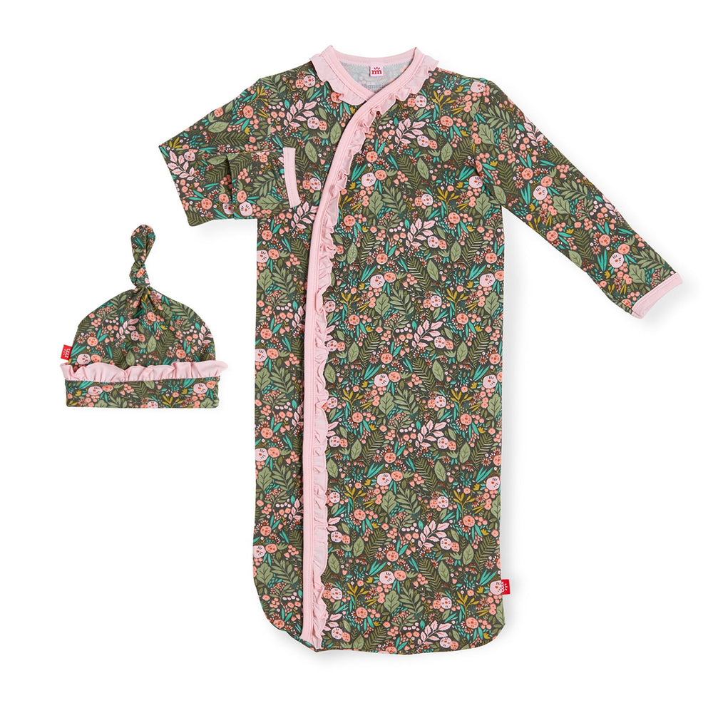 Magnificent Baby, Baby Girl Apparel - Pajamas,  Magnetic Me Harlow Modal Magnetic Sack Gown + Hat Set