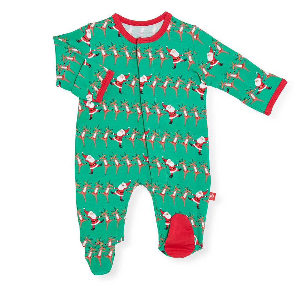 Magnificent Baby, Baby Boy Apparel - Pajamas,  Magnetic Me Holly Folly Jolly Modal Magnetic Footie