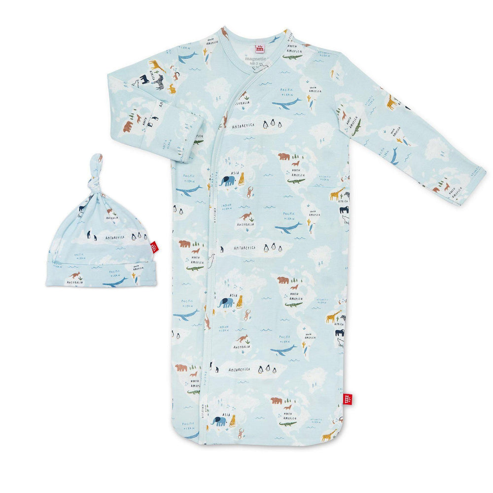 Magnificent Baby, Baby Boy Apparel - Pajamas,  Magnetic Me Sea The World Modal Magnetic Sack Gown & Hat Set